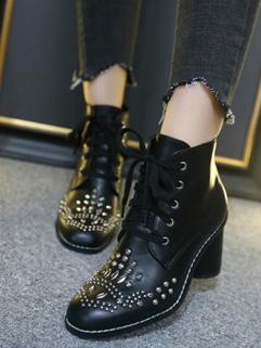 New Fashion Rivet Round Toe Bandage Women Boots