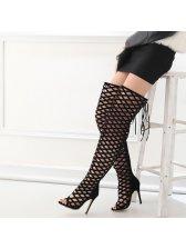 Euro Fashion Hollow Out Peep Toe Stiletto Heel Boots