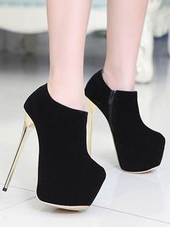 Euro Style Women Round Toe Zipper Stiletto Boots