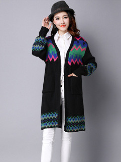 Color Matching National Ruff Sleeve Knitting Women Cardigans