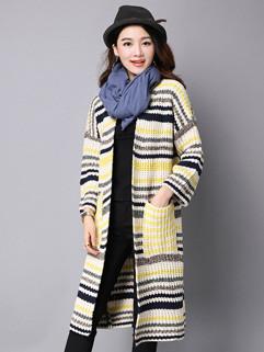 Striped Fashion Plus Size Knitting Women Cardigans