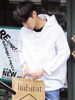 Korean Design Bandage Hooded Collar Casual Coat