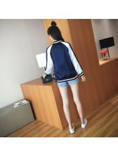 Korean Style Color Matching Embroidery Baseball Jackets