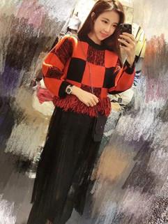 Fashion Plaid Tassel Sweater Gauze Hem Knitting Pullovers