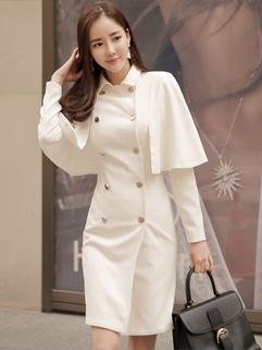Graceful Korean Style Poncho White Coats For Woman