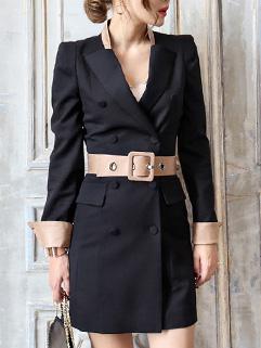 Korean Style Solid Solid Cardigan Peacoat