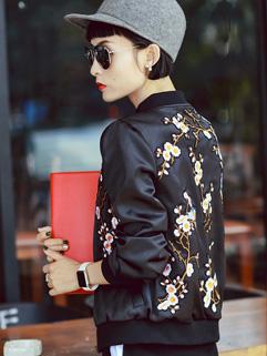 Casual Style Print Bomber Jacket Cardigan