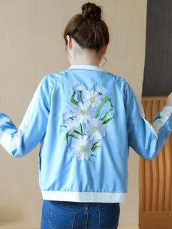 Wholesale Flower Embroidery Loose Woman Baseball Coats