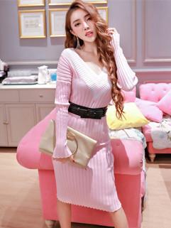 Special Offer V Neck Bodycon Knitting Dresses