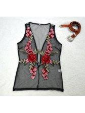 New Arrival Embroidery V Neck Sleeveless Tank