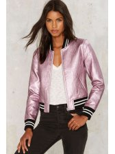 Popular Striped Metal Color Leather Bomber Jackets