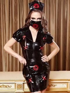 Wholesale Halloween Black Nurse Cosplay Uniform Temptation