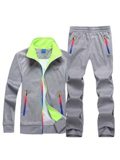 Chic Color Block Long Sleeve Pocket Sport Men Suit