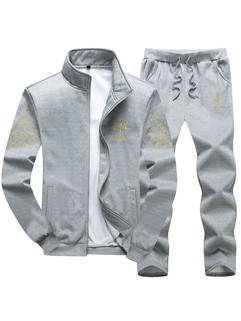 Korean Print Zipper Long Sleeve Sport Men Suit