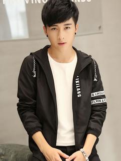 Korean New Letter Zipper Long Sleeve Men Coat