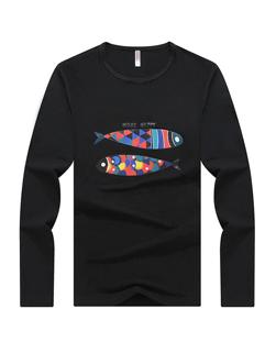 Autumn Print Crew Neck Cheap Men T-Shirt