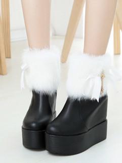 Stylish Rabbit Fur Decor Round Toe Women Boots