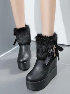 Stylish Rabbit Fur Decor Round Toe Wedge Women Boots
