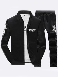 Outlet Letter Stand Collar Zipper Men Sport Suit
