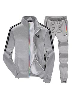 Street Style Stand Collar Zipper Sport Suit