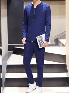 Japan Vintage Solid V Neck Men Suit