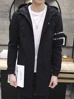 New Arrival Letter Hooded Collar Zipper Wind Coat