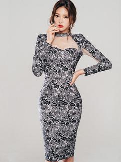 Noble Lace Patchwork Chic Elegant Bodycon Dress