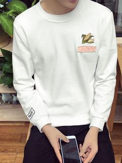 Korean Fashion Embroidery O Neck Men Hoodie