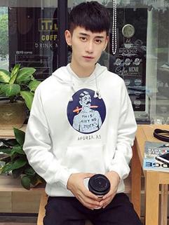 Casual Print Hooded Collar Mens Sweatshirts