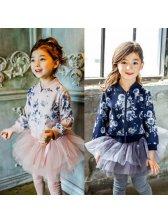 High Quality Floral Zipper Pockets Girls Coats
