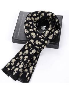 Wholesale Fashion Skull Print Fringe Men Scarf