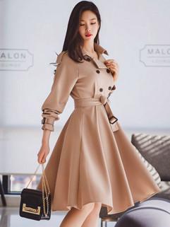 Early Winter Lapel Fashion Self Tie Swing Dress