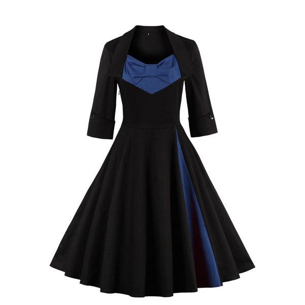 Hepburn Style Bow 1/2 Sleeve Retro Swing Dress