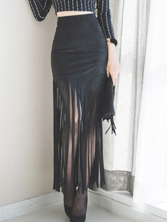 Unique Design Tassel Suede Wrap Skirt Bottom