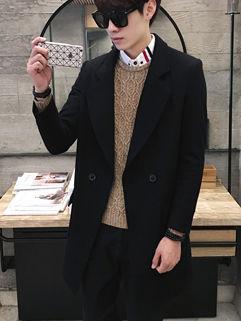 British Style Turndown Collar Black Wind Coat