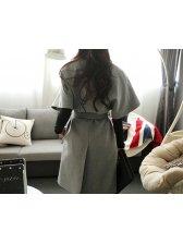 Fashion Bandage V Neck Poncho Overcoat