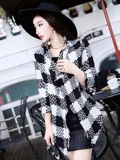 Stylish Color Matching Asymmetrical Women Coats