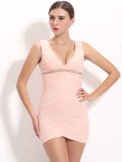 Korean Sexy Backless V Neck Beading Party Dresses