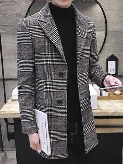 Good Quality Plaid Turndown Collar Woolen Men Coat