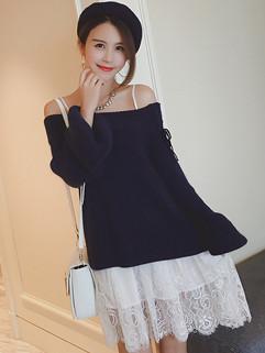 Autumn Simple Style Off Shoulder Lace Dresses