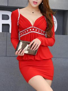Outlet Low V Neck Long Sleeve Blouson Dresses