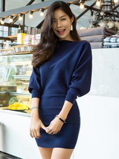 Chic Bat Sleeve Elegant Sweater Dresses