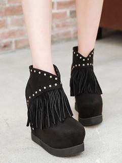 Popular Rivet Tassel Round Toe Discount Shoes Women Boots