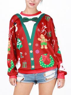 Unique Design Bow Tie Neck Print Christmas Pattern Hoodie