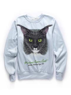 Euro Style Animal Print O Neck Cotton Pullover Sweatshirt