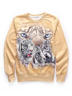 Cheap Tiger Print Pattern O Neck Cotton Hoodies