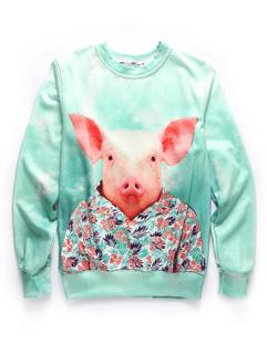 Autumn Clothing Pig Print O Neck Cotton Sweatshirt