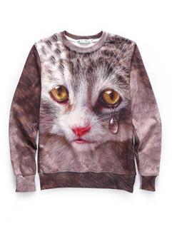 New Fashion Cat Print O Neck Cotton Sweatshirt Tops