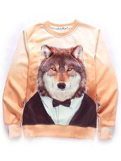 Wholesale Animal Print O Neck Cotton Sweatshirt Tops