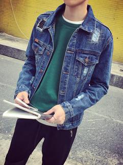 Korean Style Patch Turndown Collar Denim Men Jacket